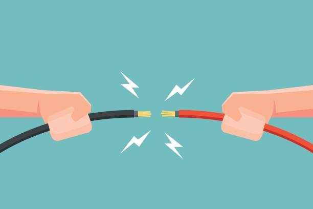 ręce trzymające kabel elektryczny z iskrą elektryczną. ilustracja wektorowa. - przewód składnik elektryczny stock illustrations