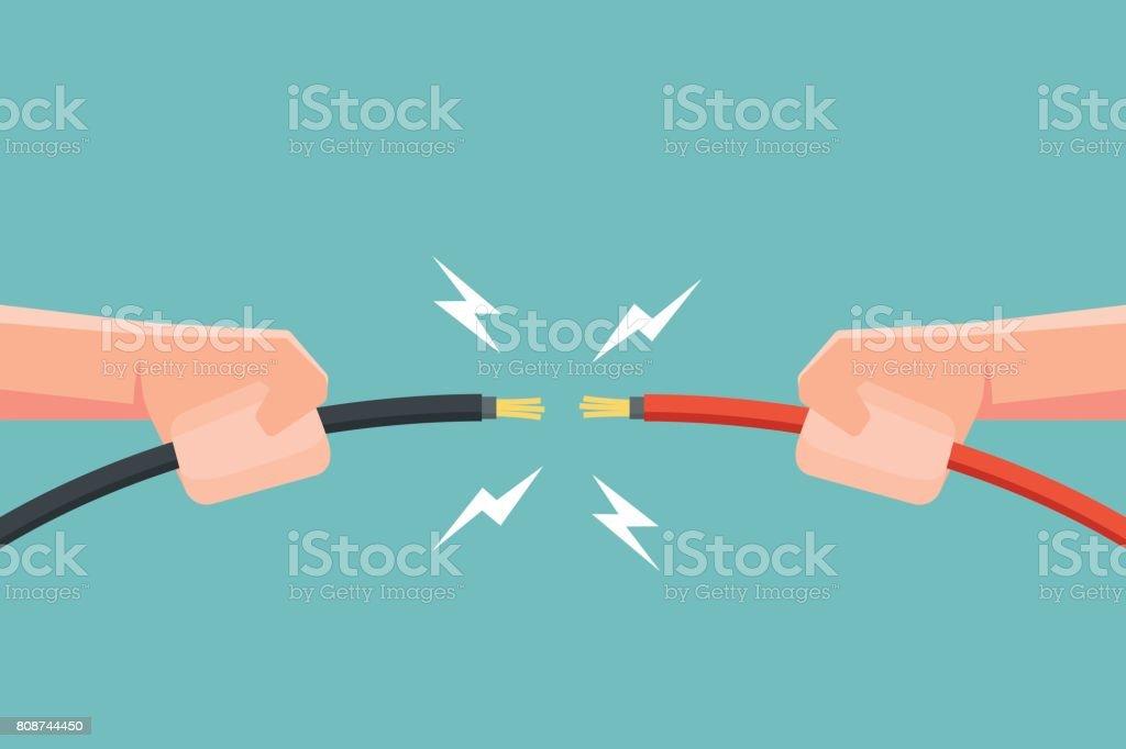手は電気火花で電線を保持しています。ベクトルの図。 ベクターアートイラスト