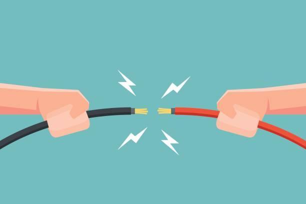 ilustrações, clipart, desenhos animados e ícones de mãos segurando o cabo elétrico com faísca de electricidade. ilustração em vetor. - eletricista