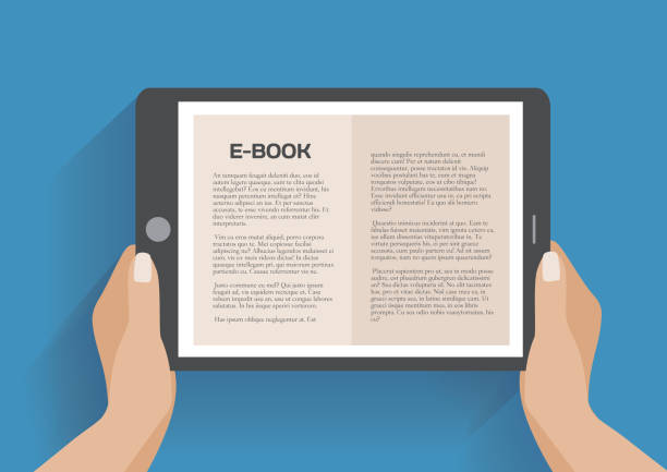 Hands holding electronic book Hands holding electronic book, flat design concept. Using e-book, eps 10 vector illustration e reader stock illustrations