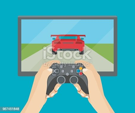 Hands holding  gamepad. Racing videogame. Vector flat style illustration