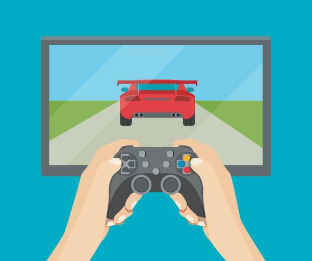 Hands holding  gamepad. Racing videogame. Vector flat illustration Hands holding  gamepad. Racing videogame. Vector flat style illustration game controller stock illustrations