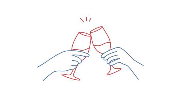 Hands holding glasses of red wine Hands holding glasses of red wine. Hand drawn vector illustration. boyfriend stock illustrations