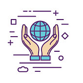 Hands Holding Globe Icon in thin line flat design style for charity and donation concept