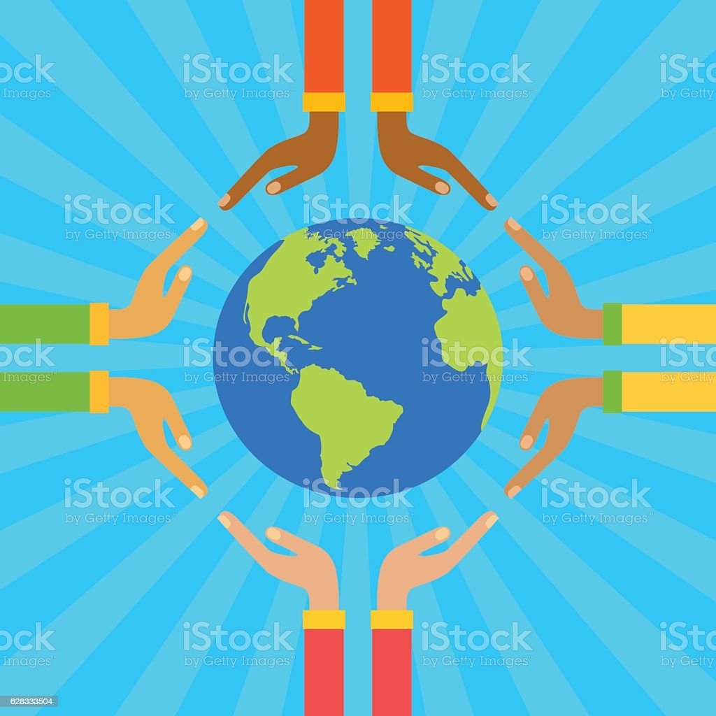 Hands holding globe. Save earth concept vector illustration vector art illustration