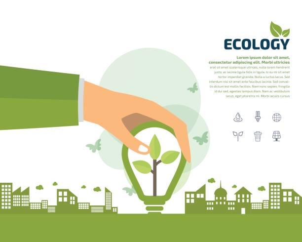 hände halten, grüne ökologie glühbirne, vektor icon, ökologie-konzept - klimaschutz stock-grafiken, -clipart, -cartoons und -symbole