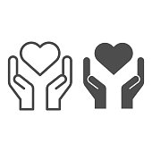 istock Hands holding heart line and solid icon. Charity and love shape in palms symbol, outline style pictogram on white background. Relationship sign for mobile concept and web design. Vector graphics. 1210390098