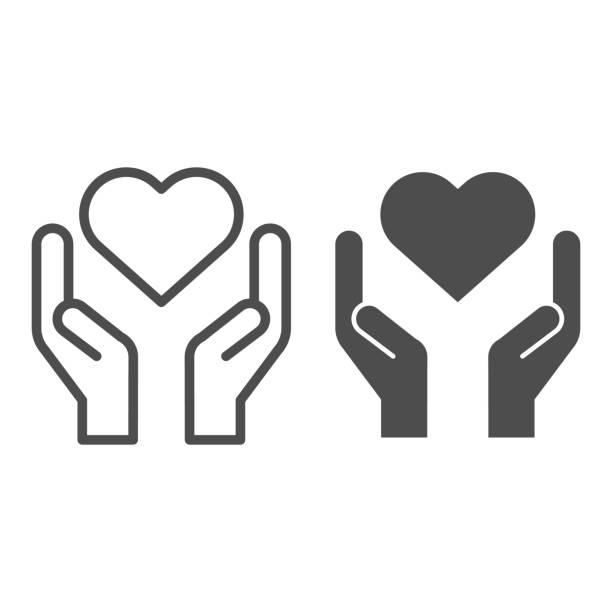 hände halten herzlinie und solide saitensymbol. nächstenliebe und liebe form in palmen symbol, umriss stil piktogramm auf weißem hintergrund. beziehungszeichen für mobiles konzept und webdesign. vektorgrafiken. - menschliches körperteil stock-grafiken, -clipart, -cartoons und -symbole