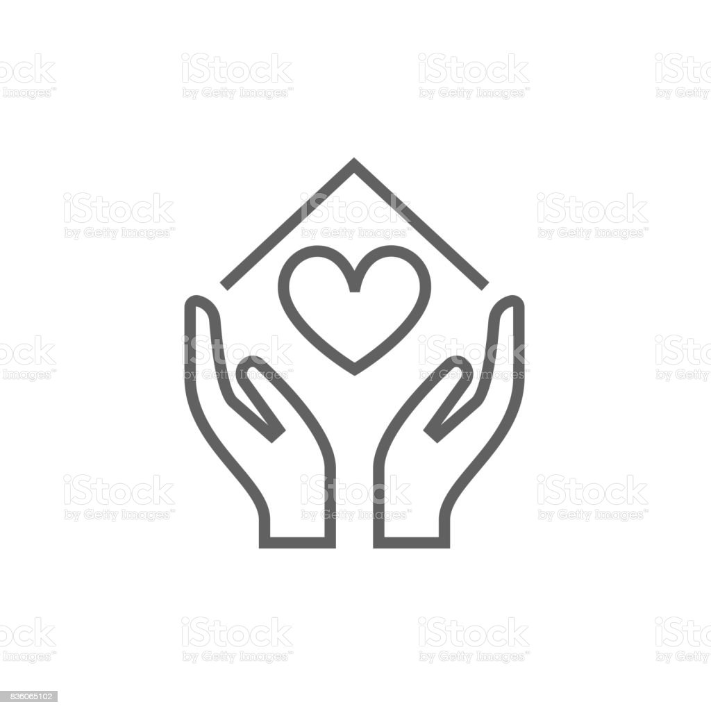 Hands holding house symbol with heart shape line icon vector art illustration