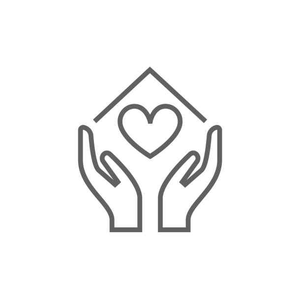 Hands holding house symbol with heart shape line icon Hands holding house symbol with heart shape thick line icon with pointed corners and edges for web, mobile and infographics. Vector isolated icon. sheltering stock illustrations