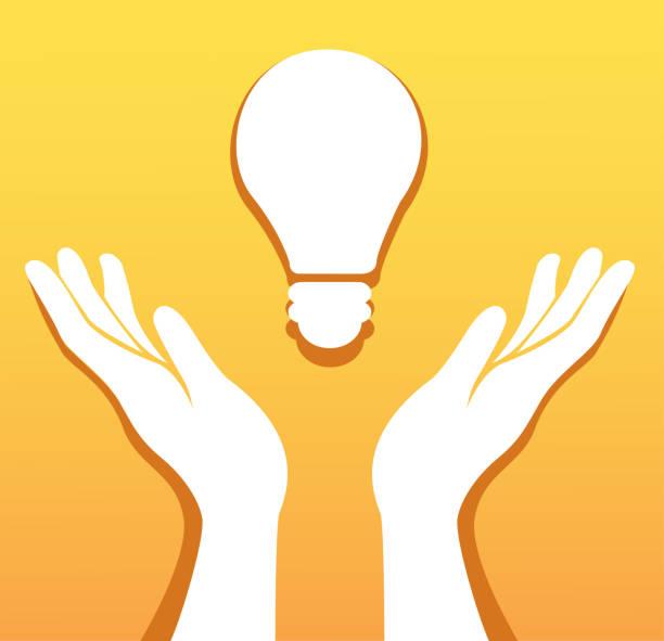 bildbanksillustrationer, clip art samt tecknat material och ikoner med händer som håller glöd lampa ikon vektor, kreativt koncept - hand tänder ett ljus