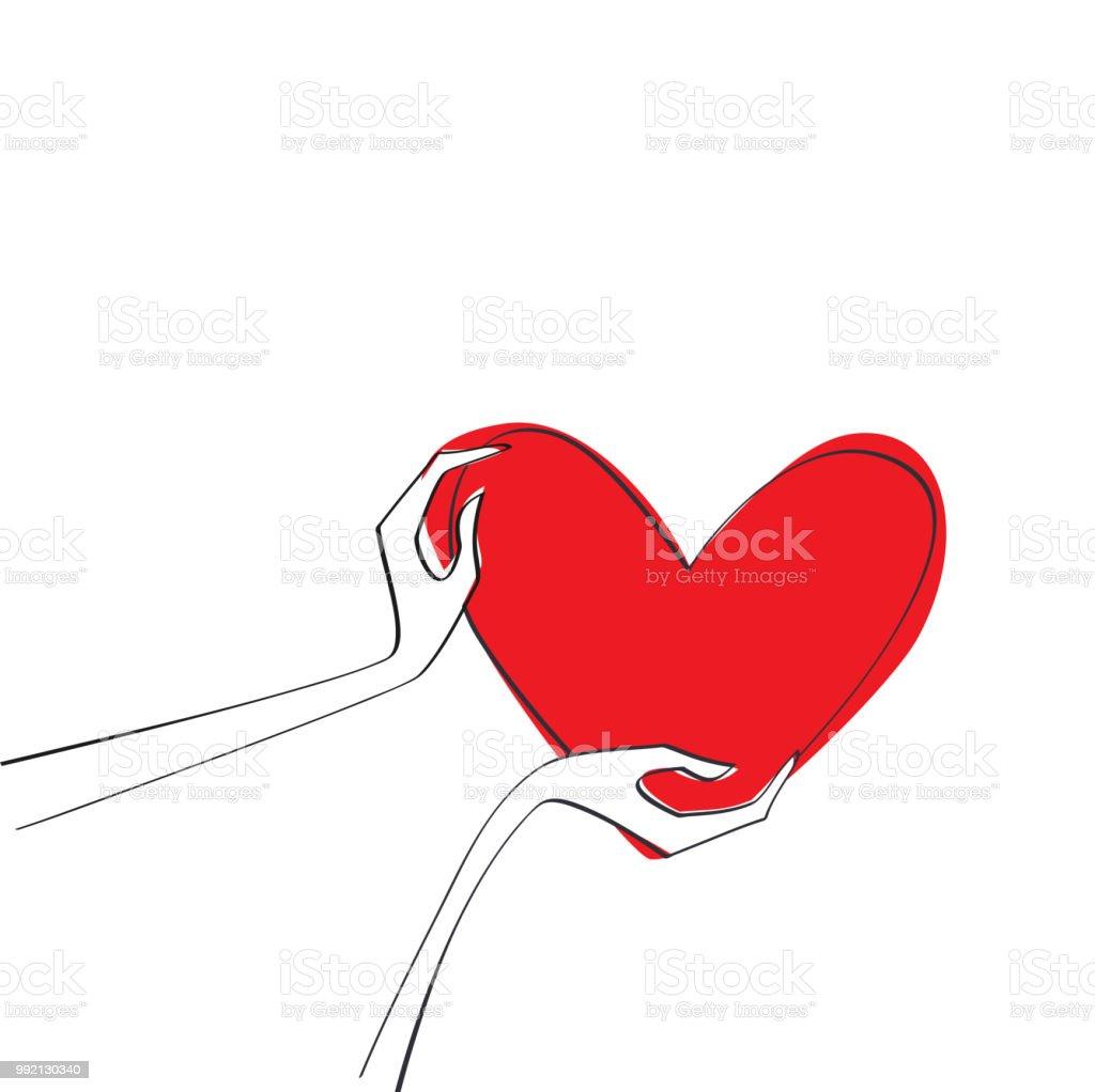 Hande Halten Liebe Symbol Rot Herz Konzept Der Liebe Stock Vektor