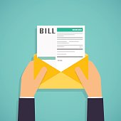 Hands holding mail with Paying bills. Payment of utility, bank,