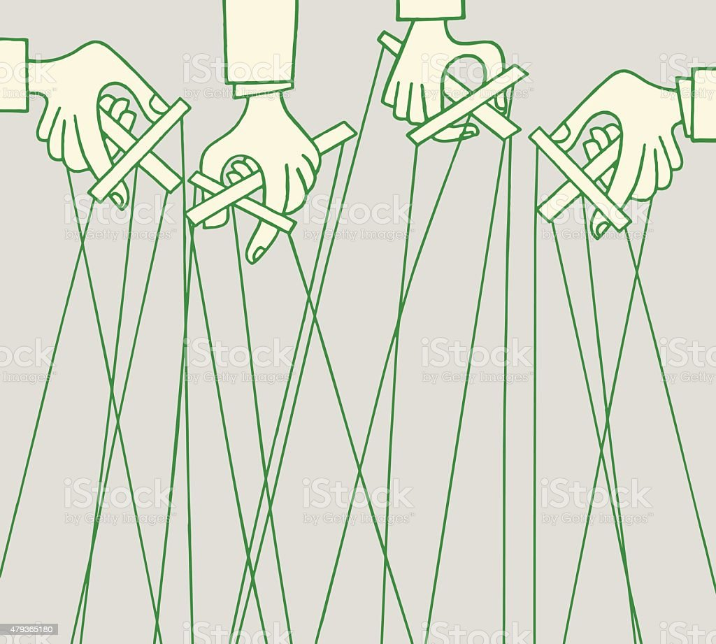 Hands Holding Marionettes vector art illustration