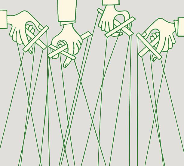 hands holding marionettes - marionetka stock illustrations