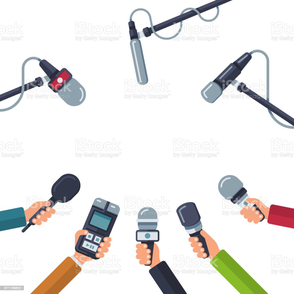 Hands holding microphones, press conference vector concept vector art illustration