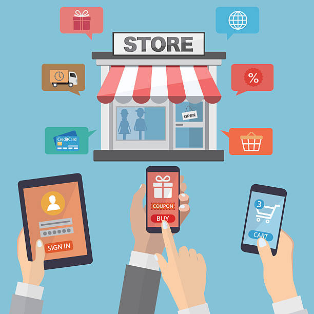 illustrations, cliparts, dessins animés et icônes de mains tenant des appareils mobiles et shopping en ligne - vitrine magasin