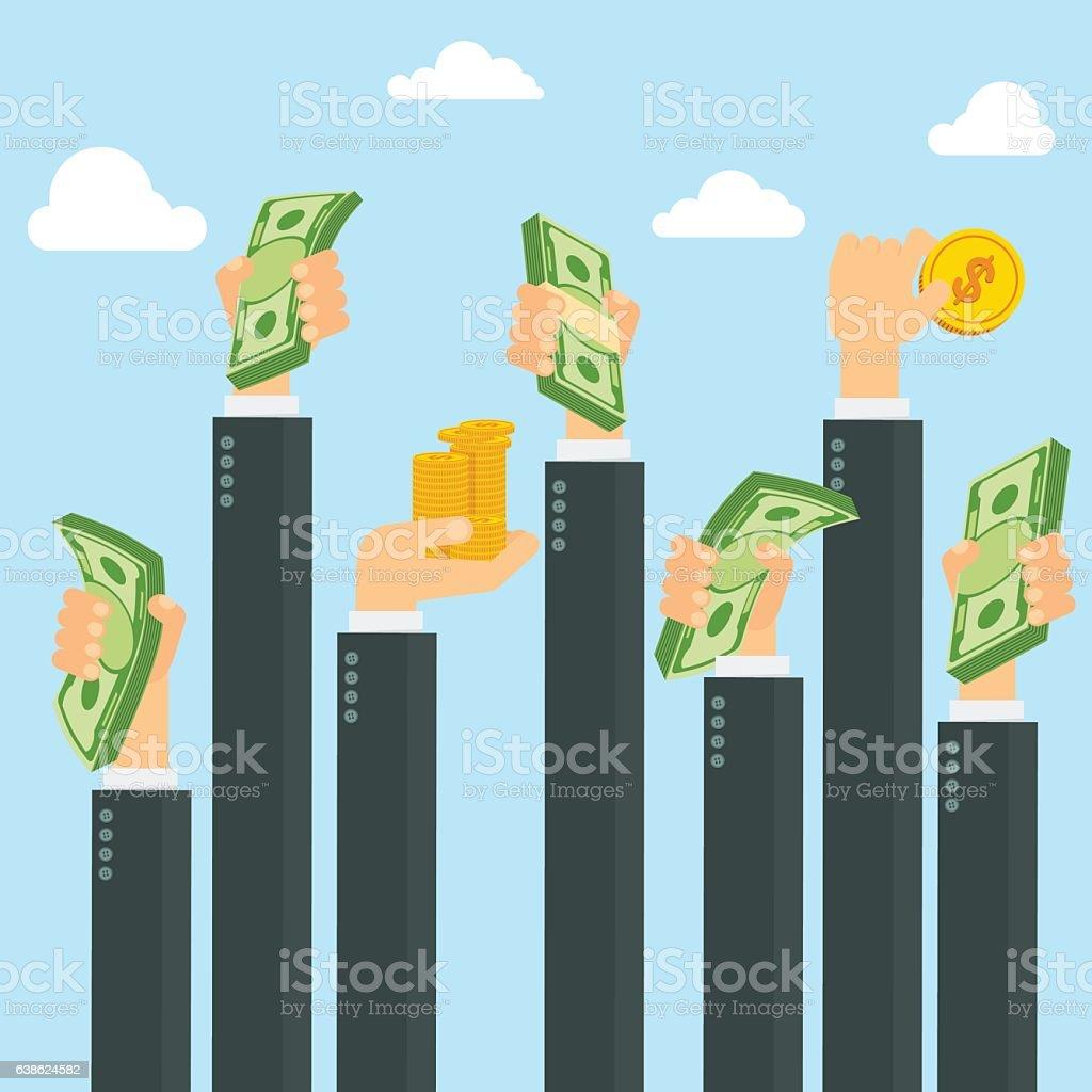 hands holding money sky vector art illustration