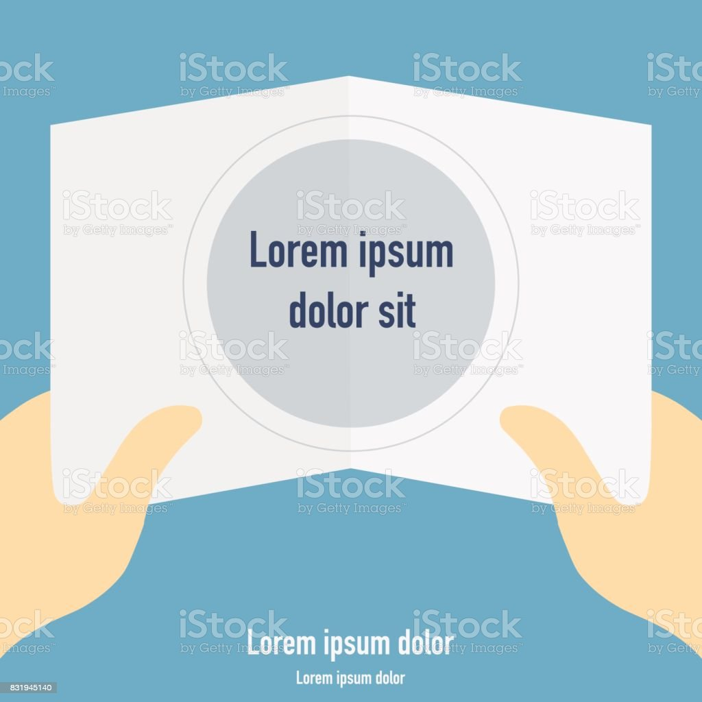 Hands holding open information card with place for text. Vector illustration vector art illustration