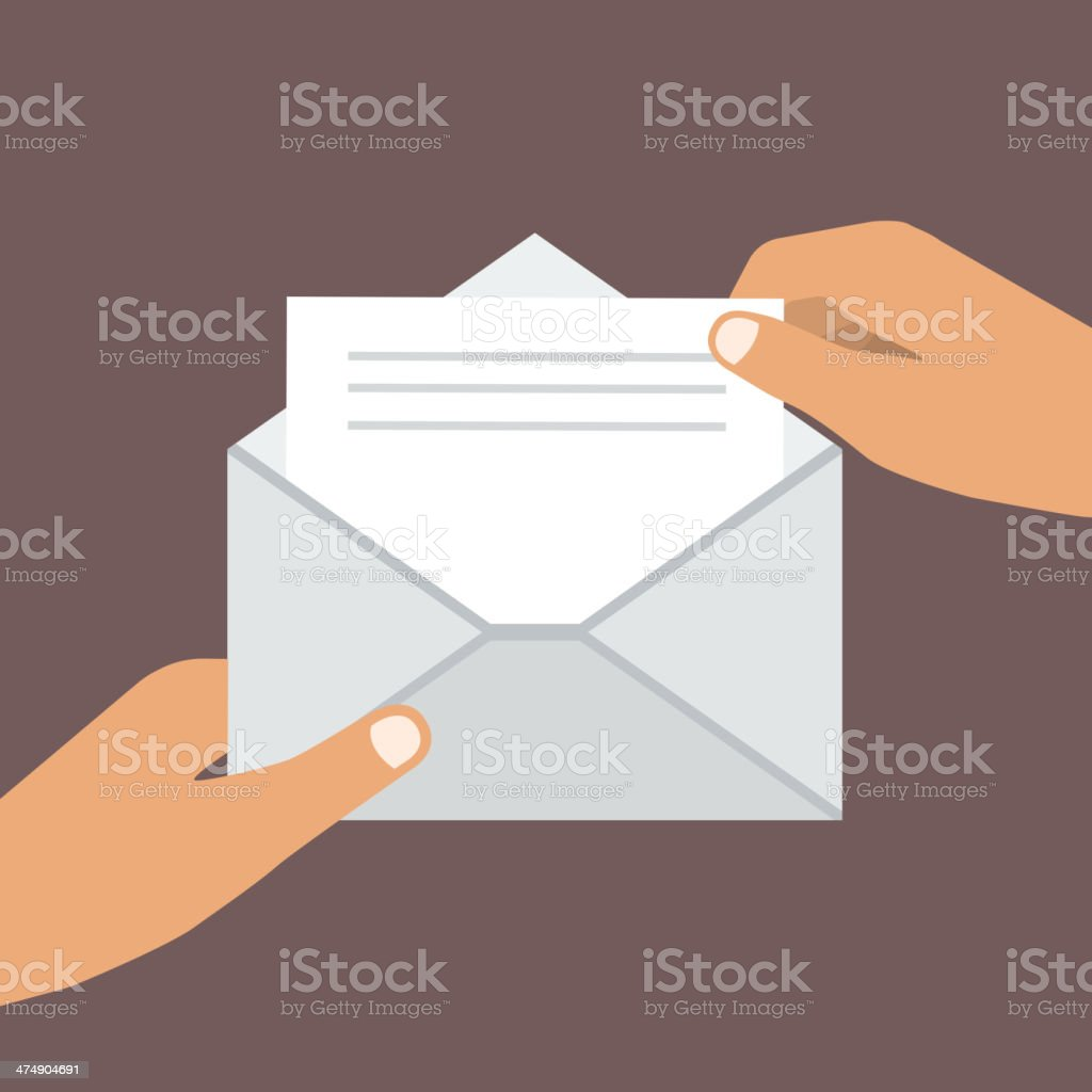 Hands Holding Opened Envelope. Flat style vector art illustration