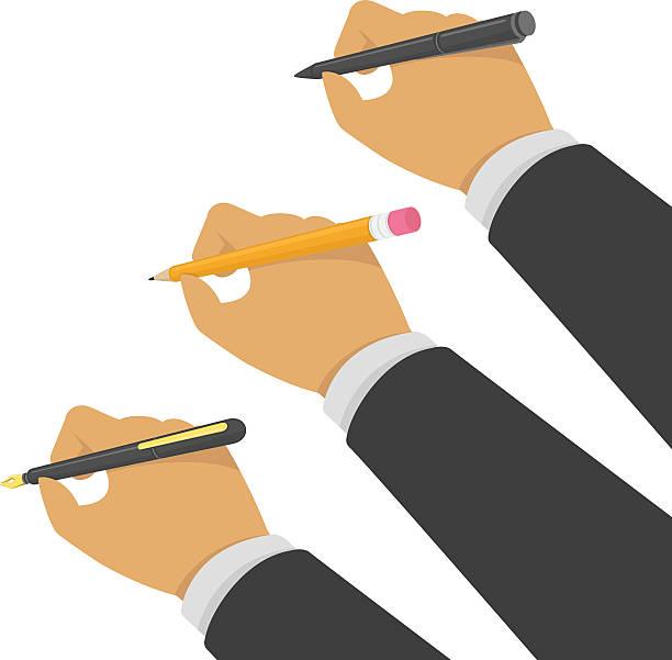Hands holding pen and pencil. - Illustration vectorielle