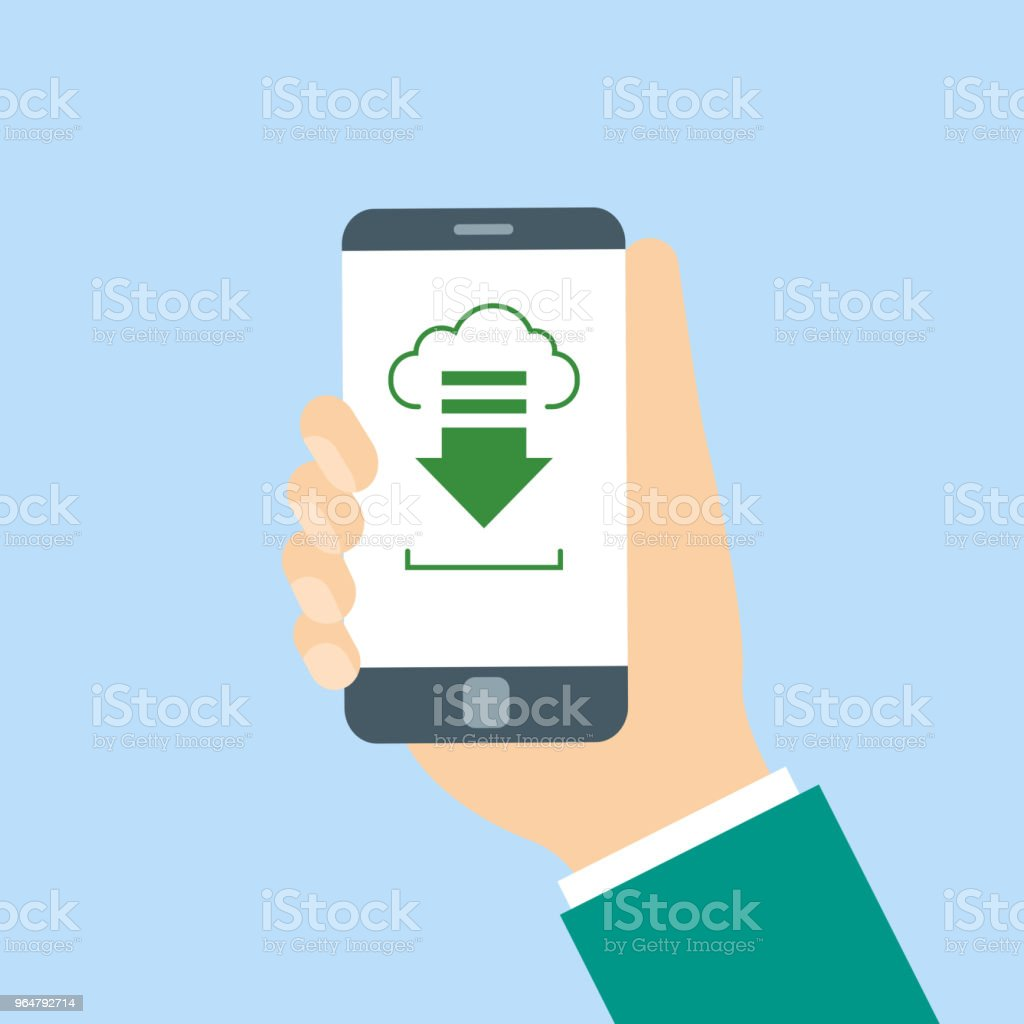 Hands holding phone with cloud on screen royalty-free hands holding phone with cloud on screen stock vector art & more images of backgrounds