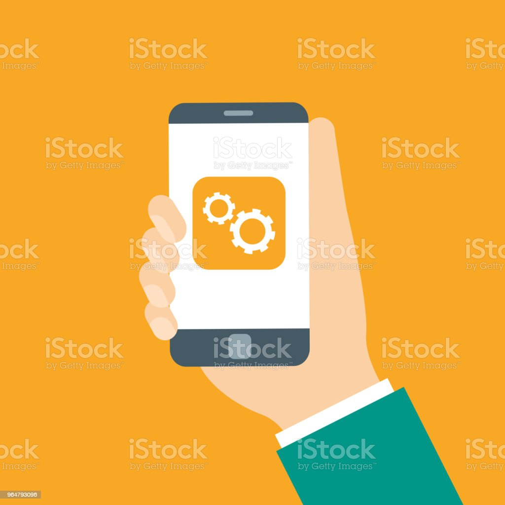 Hands holding phone with cloud on screen royalty-free hands holding phone with cloud on screen stock vector art & more images of circle