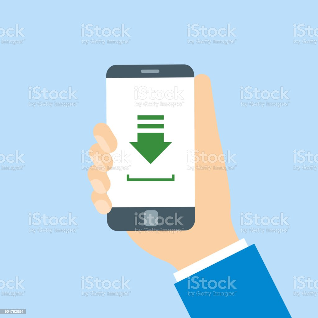 Hands holding phone with file downloading royalty-free hands holding phone with file downloading stock vector art & more images of communication