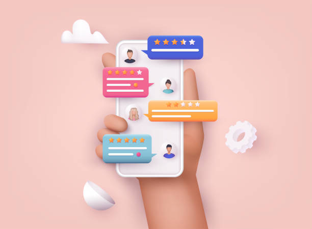 Hands holding phone with review rating. Reviews stars with good and bad rate and text. Hands holding phone with review rating. Reviews stars with good and bad rate and text. three dimensional stock illustrations