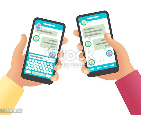 istock Hands holding phones with message. Social networking communication, touch screen smartphone app with online chat cartoon vector design 1180975769