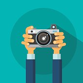 Hands Holding Photo Camera Flat Design