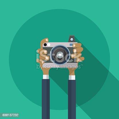 Hands Holding Photo Camera Photography Flat Design Vector Illustration