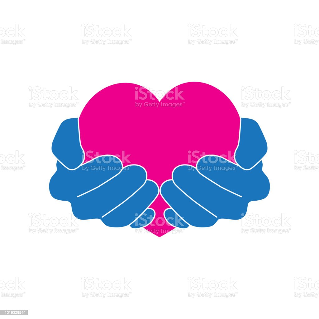 Download Hands Holding Pink Heart With Love And Care Icon Logo ...