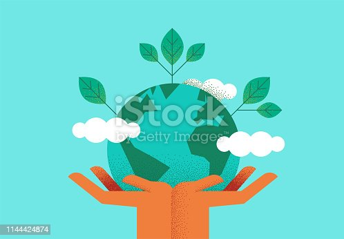 istock Hands holding planet earth for environment care 1144424874