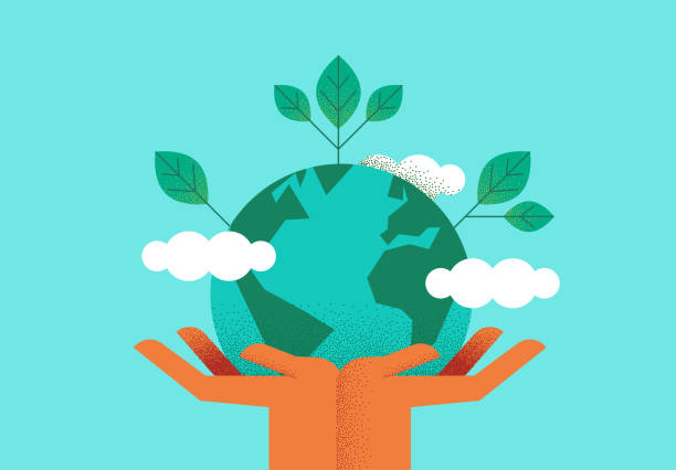 stockillustraties, clipart, cartoons en iconen met hands holding planet earth voor milieuzorg - planeet aarde