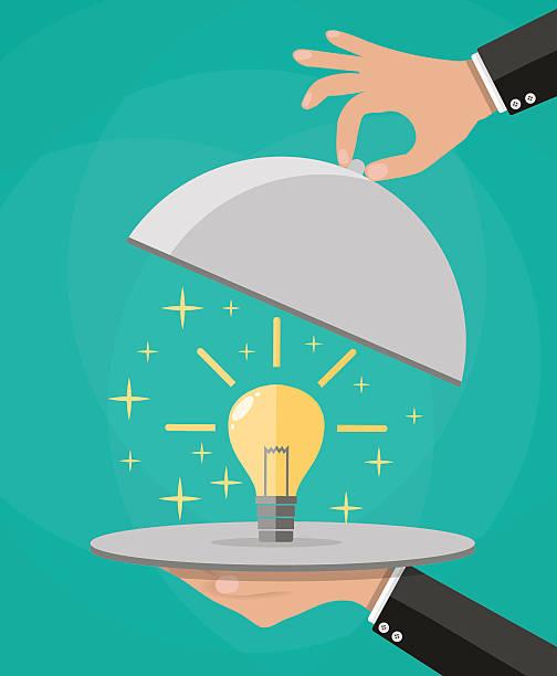 Hands holding platter cloche with idea light bulb vector art illustration