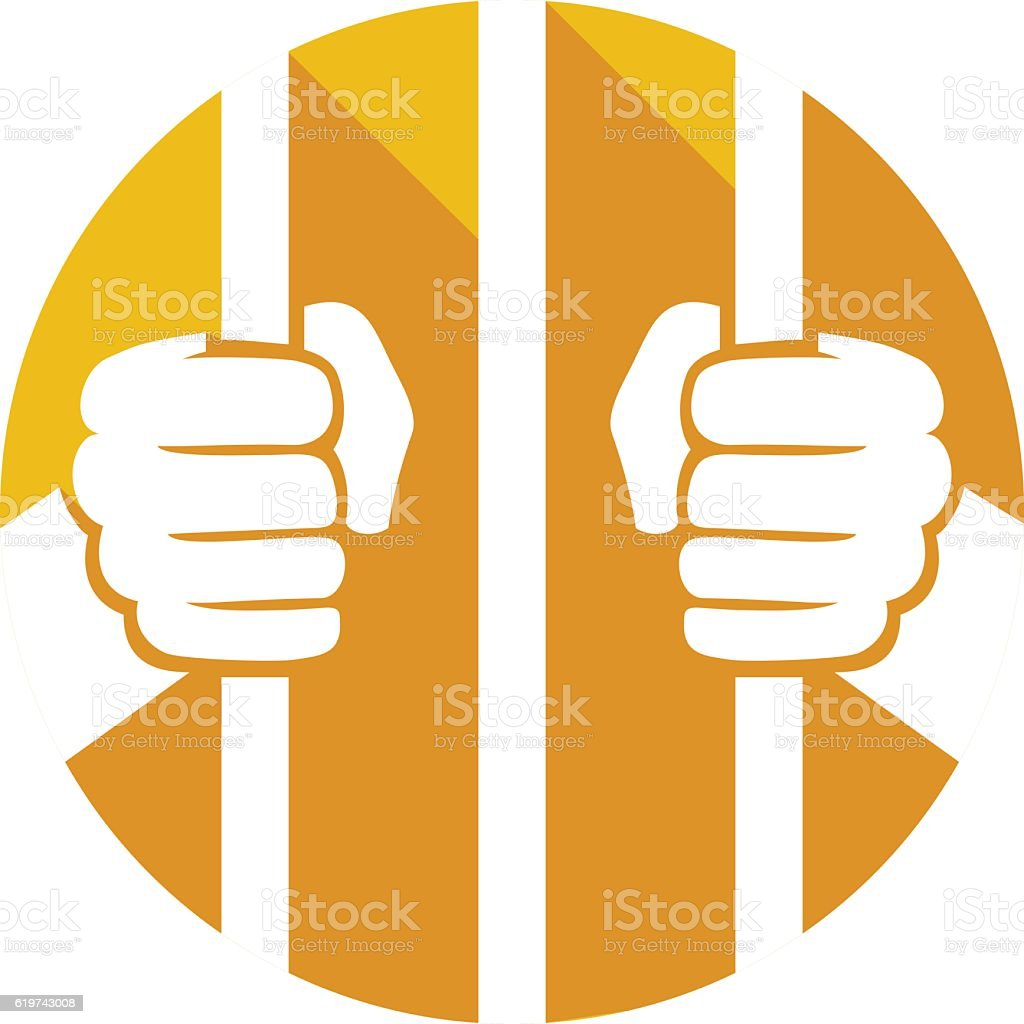 hands holding prison bars flat icon vector art illustration