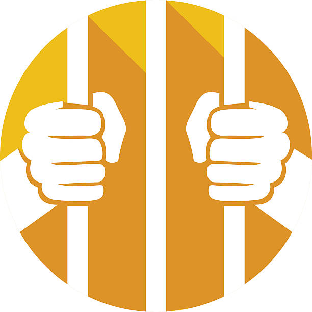 hands holding prison bars flat icon - wine stock illustrations
