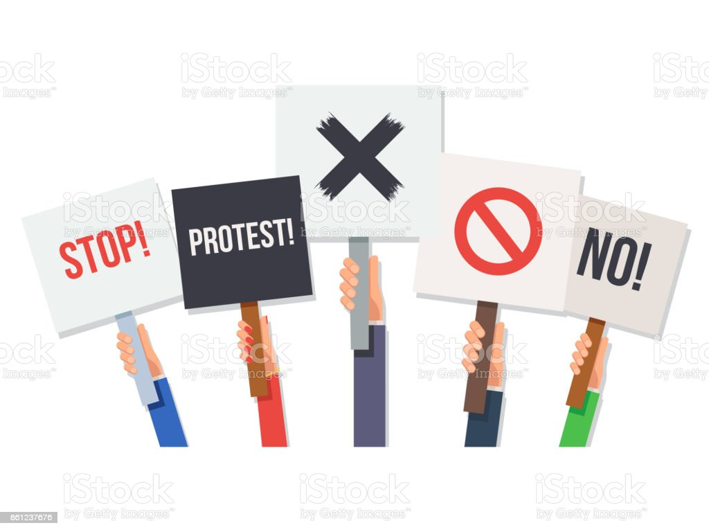 Hands holding protest posters vector art illustration