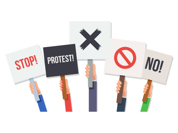 Hands holding protest posters Hands holding protest posters. No and stop, cross, forbid, protest.Concept revolution and demonstration. Vector illustration in flat style isolated on white background for Wed banner or poster party conference stock illustrations