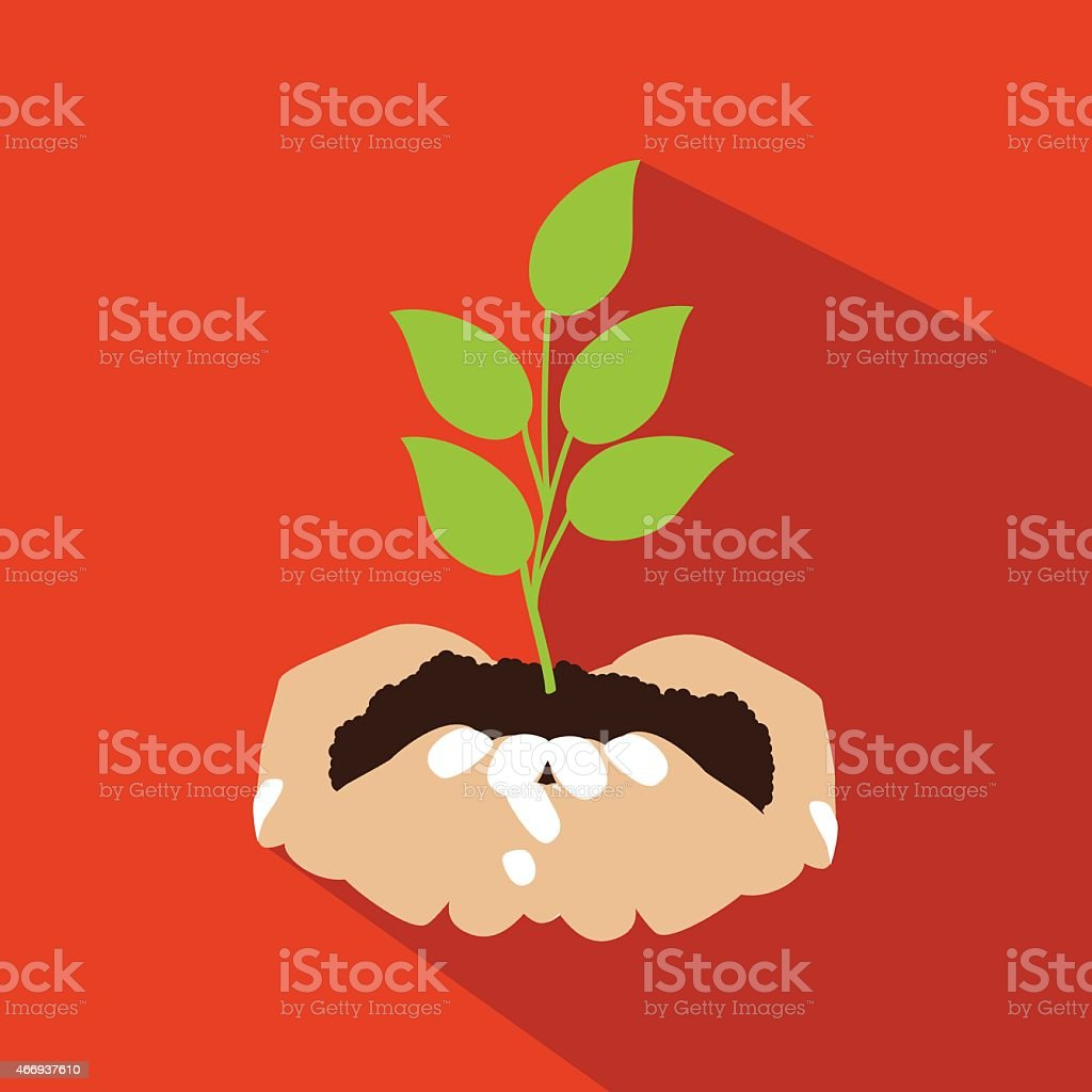 Hands holding seedling flat design vector art illustration