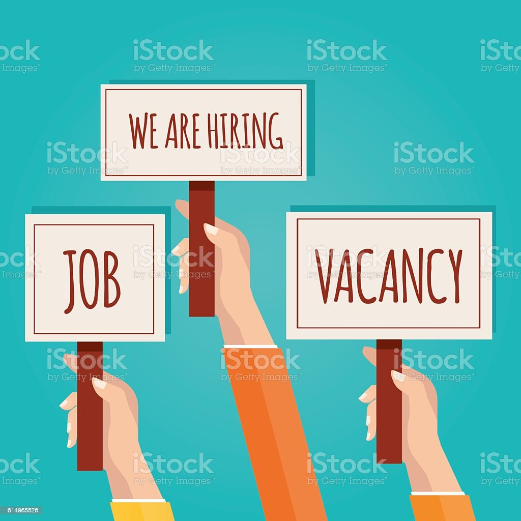 Hands holding signboard with We are hiring vector art illustration