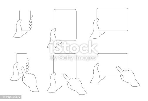 Hands holding Smartphone and Tablet - Set. Contour Line. White Empty Screen. Vector illustration of tab in hand. Template
