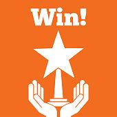 hands holding star trophy award win orange background