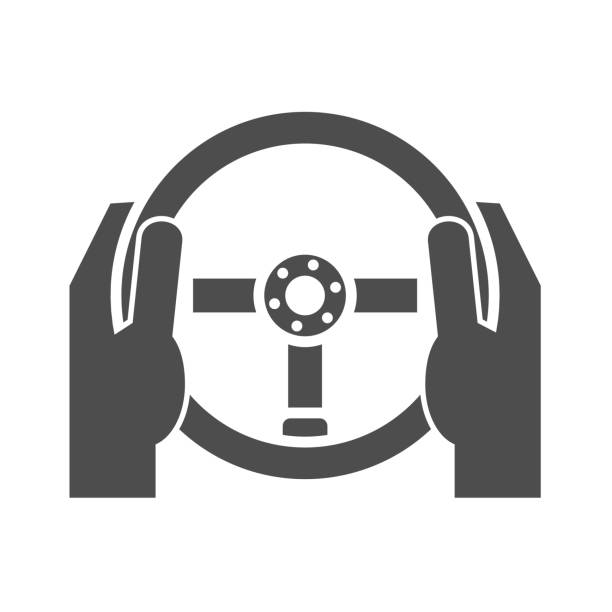 Hands holding steering wheel Hands holding steering wheel icon concept test drive stock illustrations