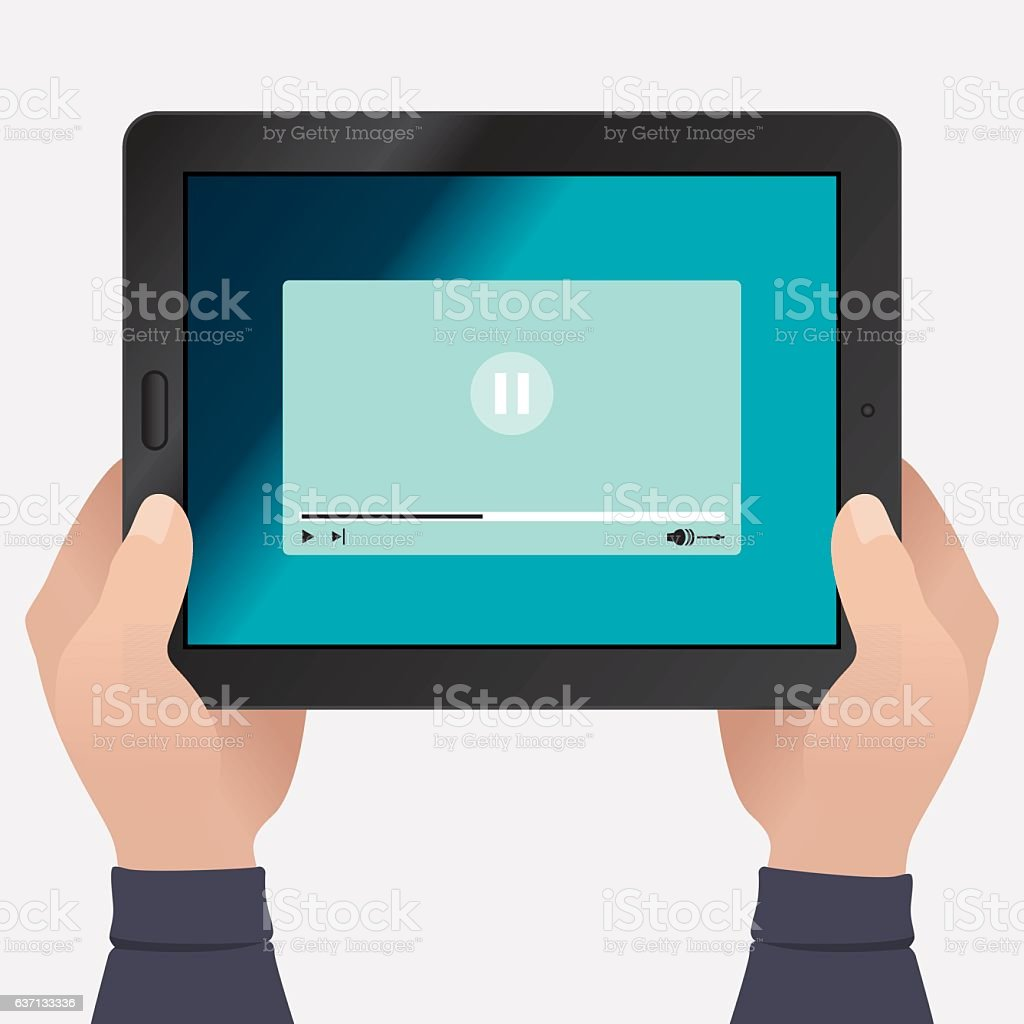 Hands Holding Tablet With Paused Video vector art illustration