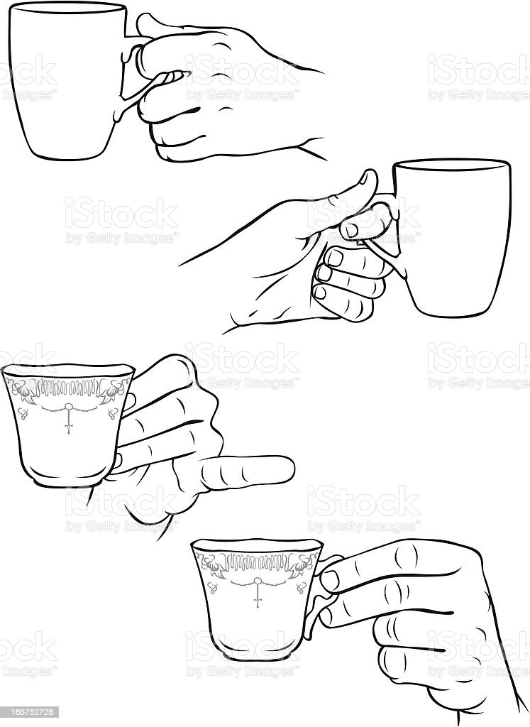 Hands Holding Tea Cups And Coffee Mugs Stock Vector Art