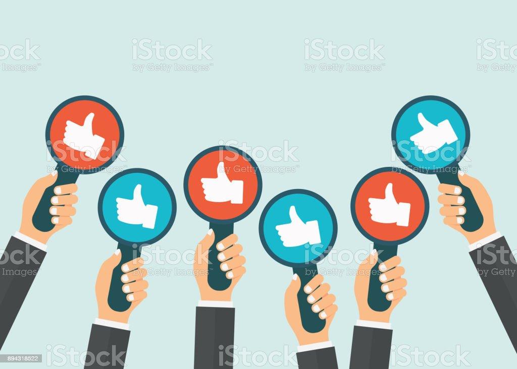 Mãos com polegares para cima sinais. Conceito de avaliação, feedback e avaliação. Ilustração vetorial plana - ilustração de arte em vetor