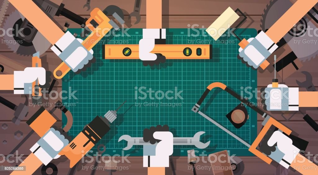 Hands Holding Tools Repair And Construction Working Equipment Over Copy Space vector art illustration