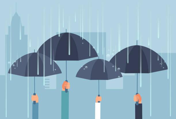Hands holding umbrellas while thunderstorm. Vector safe cartoon business concept vector art illustration